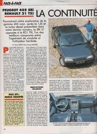 ... la 405 SRi Phase 2 et la Renault 21 TXi. (3 pages, 1 manquante